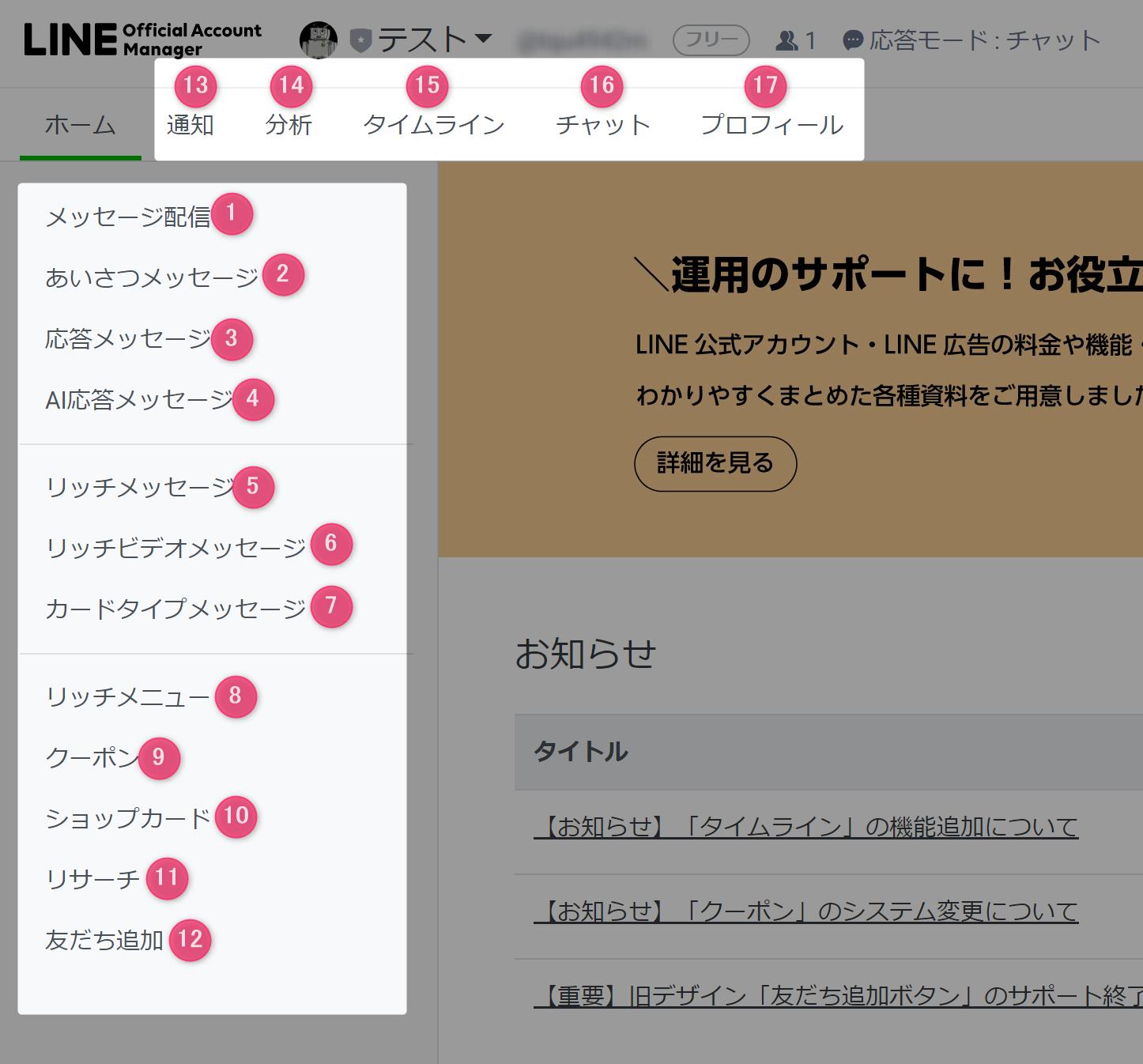 LINE公式アカウントの管理画面